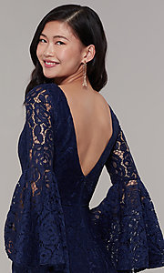 Image of long-sleeve lace mermaid prom dress in navy. Style: LP-25639 Detail Image 2