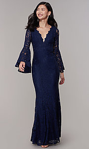 Image of long-sleeve lace mermaid prom dress in navy. Style: LP-25639 Detail Image 3