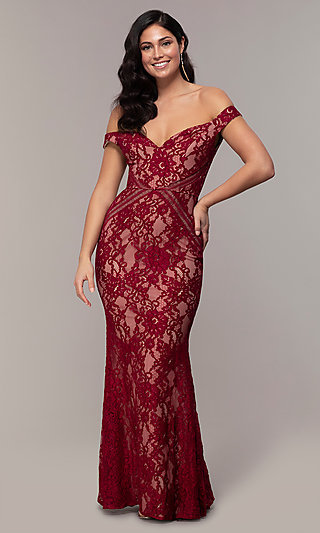 Allover Long Lace Off-the-Shoulder Prom Dress