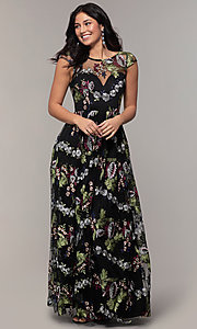 Image of embroidered-mesh cap-sleeve long black prom dress. Style: LP-25813 Front Image