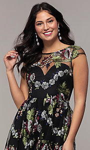 Image of embroidered-mesh cap-sleeve long black prom dress. Style: LP-25813 Detail Image 1