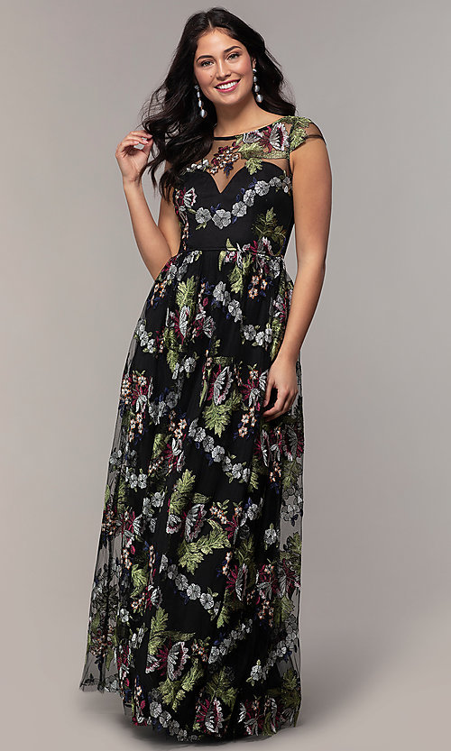 Image of embroidered-mesh cap-sleeve long black prom dress. Style: LP-25813 Detail Image 3