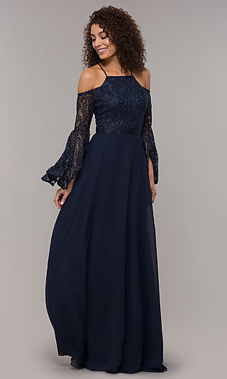 Lace Bodice 3/4 Sleeve Long MOB Dress
