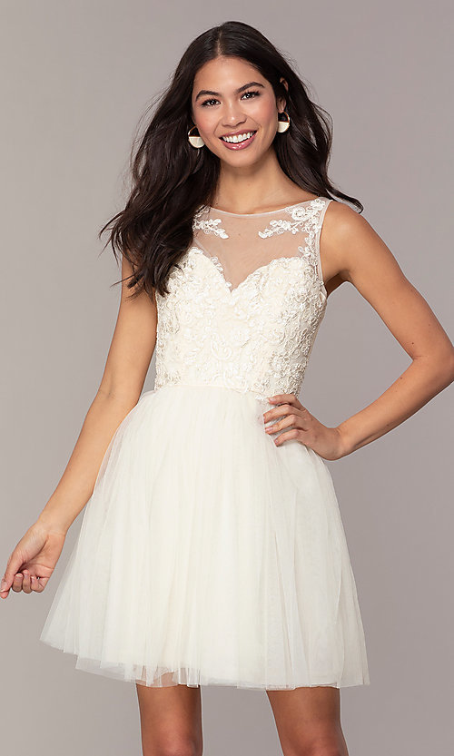 Image of short tulle a-line semi-formal party dress. Style: LP-25459 Front Image