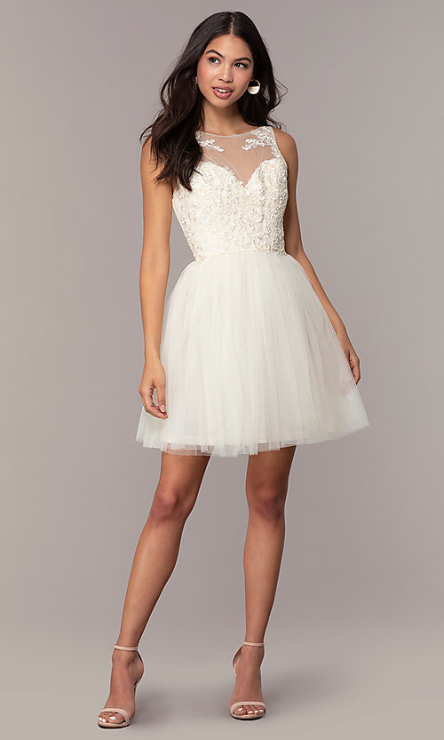 Image of short tulle a-line semi-formal party dress. Style: LP-25459 Detail Image 3