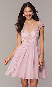 Image of short mauve grad party dress with embroidered bodice.  Style: LP-27813 Front Image
