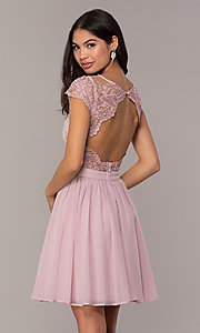 Image of short mauve grad party dress with embroidered bodice.  Style: LP-27813 Back Image