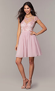 Image of short mauve grad party dress with embroidered bodice.  Style: LP-27813 Detail Image 3