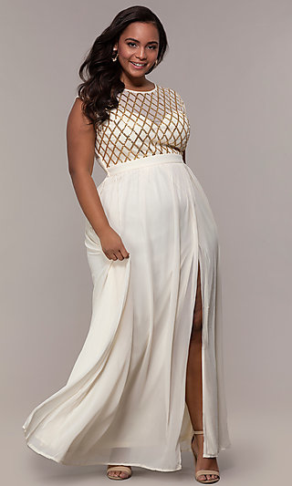 Long Plus-Size Prom Dress with Sequin Pattern Bodice