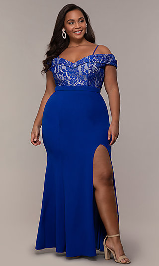Lace Bodice Off Shoulder Long Plus-Size Prom Dress