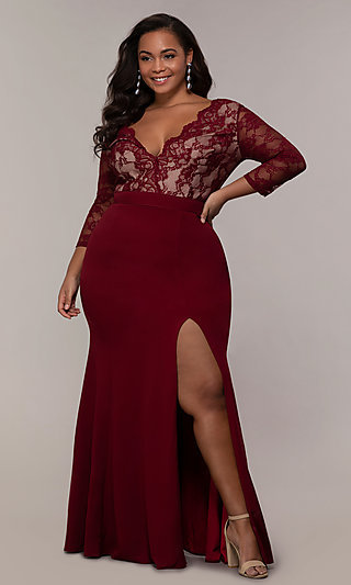 Long V-Neck 3/4 Sleeve Plus-Size Prom Dress