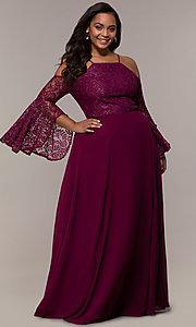 Image of cold-shoulder lace-bodice long plus-size prom dress. Style: LP-25858P Front Image
