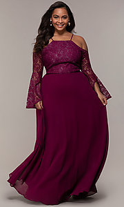 Image of cold-shoulder lace-bodice long plus-size prom dress. Style: LP-25858P Detail Image 3