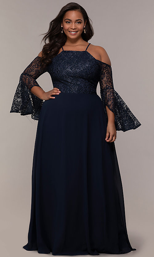 a3f44081936 Image of cold-shoulder lace-bodice long plus-size prom dress. Style
