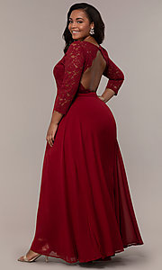 Image of faux-wrap 3/4-sleeve lace-bodice plus prom dress. Style: LP-27698P Detail Image 7