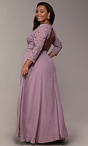 Image of faux-wrap 3/4-sleeve lace-bodice plus prom dress. Style: LP-27698P Back Image
