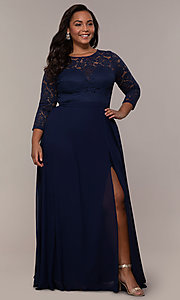 Image of faux-wrap 3/4-sleeve lace-bodice plus prom dress. Style: LP-27698P Detail Image 3