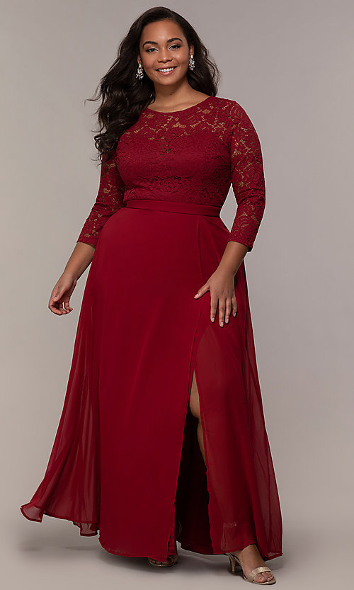 Image of faux-wrap 3/4-sleeve lace-bodice plus prom dress. Style: LP-27698P Detail Image 6