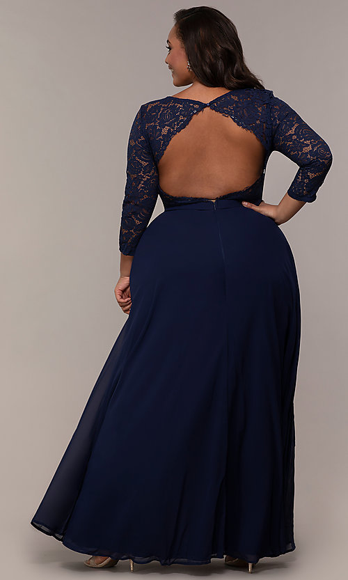 Image of faux-wrap 3/4-sleeve lace-bodice plus prom dress. Style: LP-27698P Detail Image 4