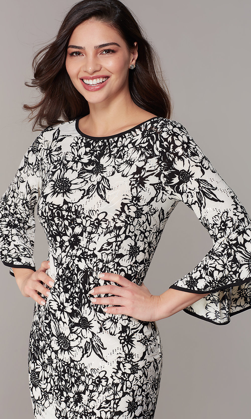 Bell,Sleeve Floral,Print Wedding,Guest Party Dress