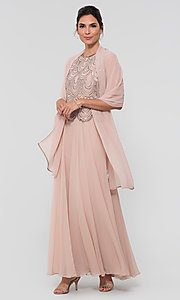 Image of sequin long mother-of-the-bride dress with shawl. Style: JKA-4815 Detail Image 7
