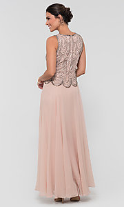 Image of sequin long mother-of-the-bride dress with shawl. Style: JKA-4815 Detail Image 8