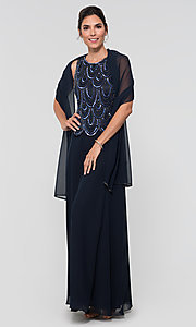 Image of sequin long mother-of-the-bride dress with shawl. Style: JKA-4815 Detail Image 4