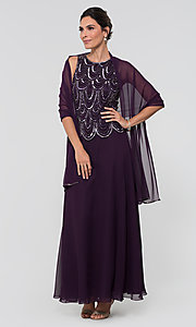 Image of sequin long mother-of-the-bride dress with shawl. Style: JKA-4815 Front Image