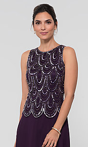 Image of sequin long mother-of-the-bride dress with shawl. Style: JKA-4815 Detail Image 1