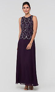 Image of sequin long mother-of-the-bride dress with shawl. Style: JKA-4815 Detail Image 3
