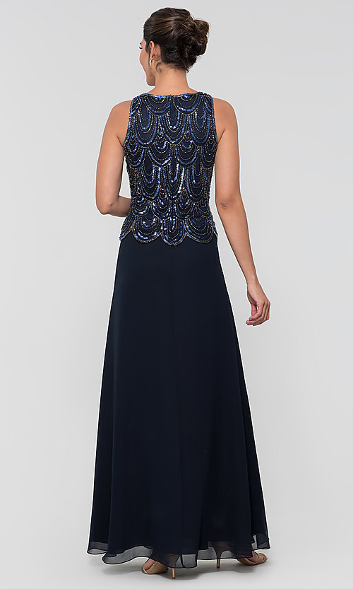 Image of sequin long mother-of-the-bride dress with shawl. Style: JKA-4815 Detail Image 6
