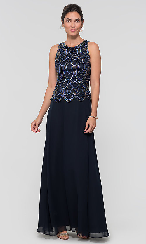 Image of sequin long mother-of-the-bride dress with shawl. Style: JKA-4815 Detail Image 5