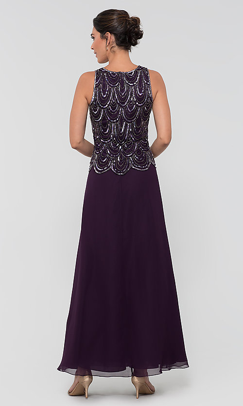 Image of sequin long mother-of-the-bride dress with shawl. Style: JKA-4815 Back Image