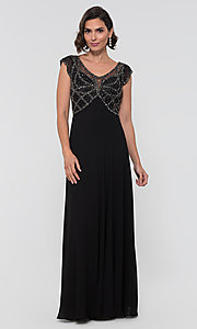 Image of formal long beaded chiffon mother-of-the-bride dress. Style: JKA-5217 Detail Image 4