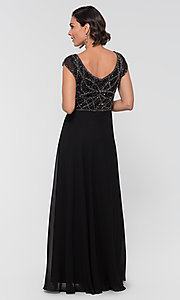 Image of formal long beaded chiffon mother-of-the-bride dress. Style: JKA-5217 Detail Image 5