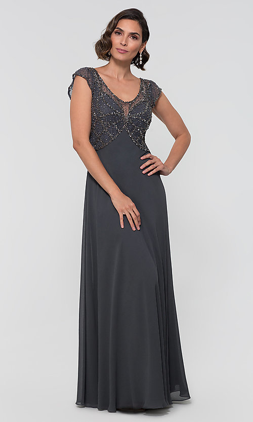 Image of formal long beaded chiffon mother-of-the-bride dress. Style: JKA-5217 Detail Image 2