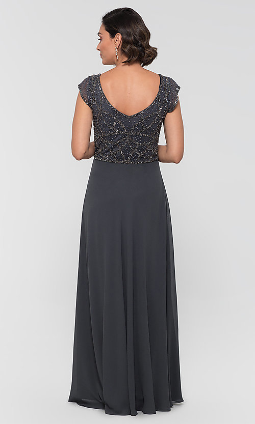 Image of formal long beaded chiffon mother-of-the-bride dress. Style: JKA-5217 Detail Image 3