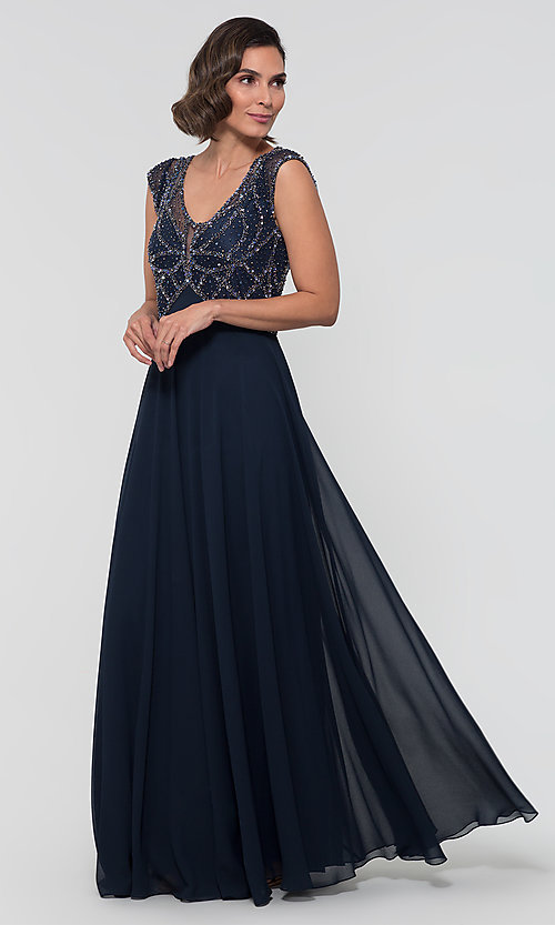 Image of formal long beaded chiffon mother-of-the-bride dress. Style: JKA-5217 Front Image