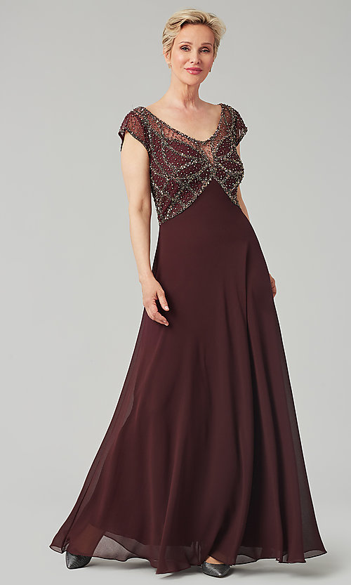Image of formal long beaded chiffon mother-of-the-bride dress. Style: JKA-5217 Detail Image 6