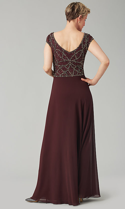 Image of formal long beaded chiffon mother-of-the-bride dress. Style: JKA-5217 Detail Image 7