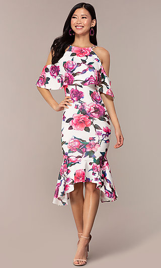 Floral-Print Cold-Shoulder Wedding-Guest Dress