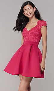 Image of lace-bodice short graduation party dress. Style: DC-D47163 Detail Image 3