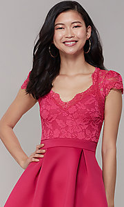 Image of lace-bodice short graduation party dress. Style: DC-D47163 Detail Image 5