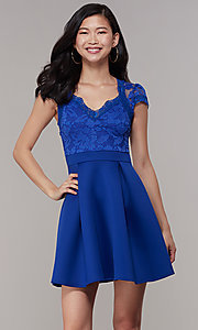 Image of lace-bodice short graduation party dress. Style: DC-D47163 Detail Image 6