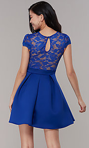 Image of lace-bodice short graduation party dress. Style: DC-D47163 Detail Image 7