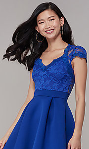 Image of lace-bodice short graduation party dress. Style: DC-D47163 Detail Image 8