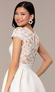 Image of lace-bodice short graduation party dress. Style: DC-D47163 Detail Image 2