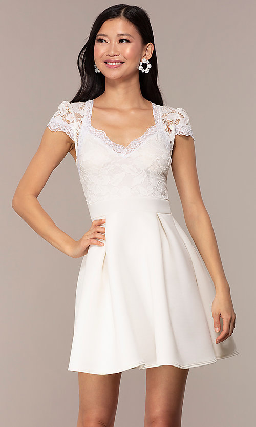 Image of lace-bodice short graduation party dress. Style: DC-D47163 Front Image