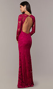 Image of long-sleeve floor-length lace prom dress. Style: CL-47136 Detail Image 5
