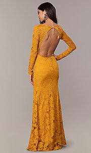 Image of long-sleeve floor-length lace prom dress. Style: CL-47136 Detail Image 7